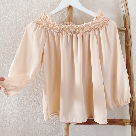 Tops - Peach Cold Shoulder Blouse